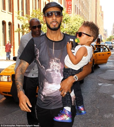 #NYFW   Producer Swizz Beatz and his son Egypt headed to the Jeremy Scott show..