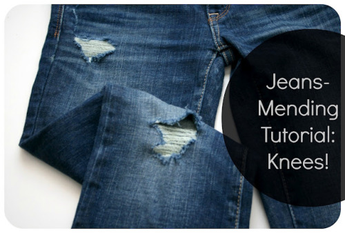 DIY Mending Holes in Jeans from Adventures in Dressmaking here. She also links a tutorial for mending holes in other places in jeans/pants. I get more questions about mending and patches on this blog than almost anything else and for more tutorials go here: truebluemeandyou.tumblr.com/tagged/patches