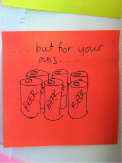 Motivational six-pack post-its.