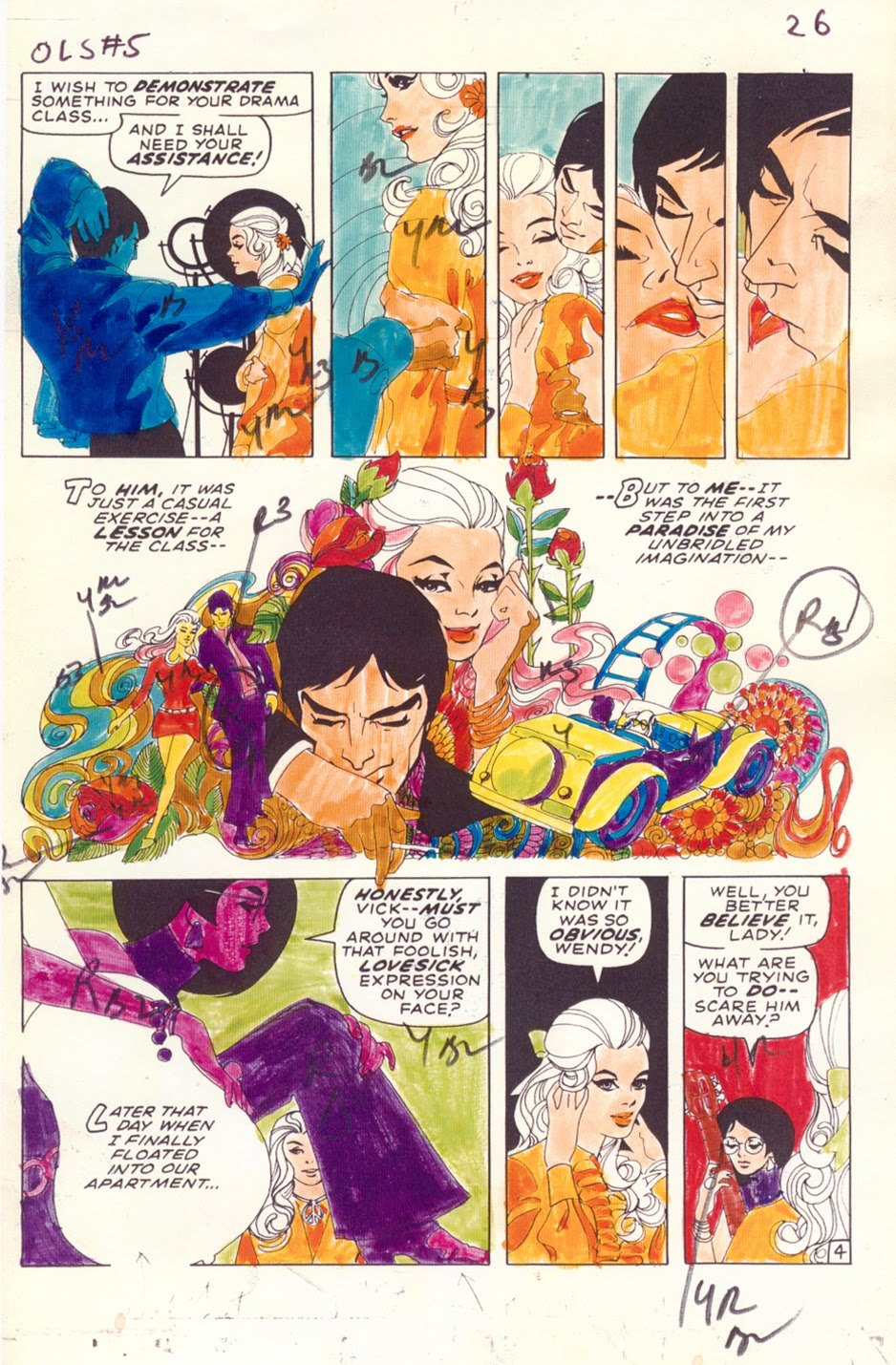 "seanhowe:  Color guide from ""My Heart Broke in Hollywood"" by Jim Steranko. From OUR LOVE STORY#5, June 1970."