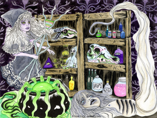 "Maleficium Apothecary9""x12"" watercolor on watercolor paperwww.scottferry.comwww.facebook.com/sicklyplaything © Scott Ferry, sodrac 2012http://www.sodrac.ca/"