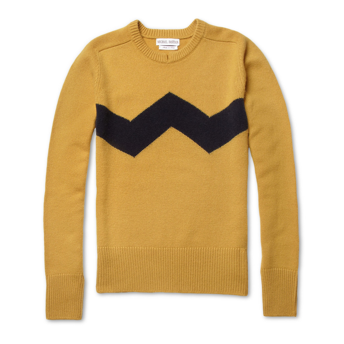 MICHAEL BASTIAN's Charlie Brown sweater is the Peanuts