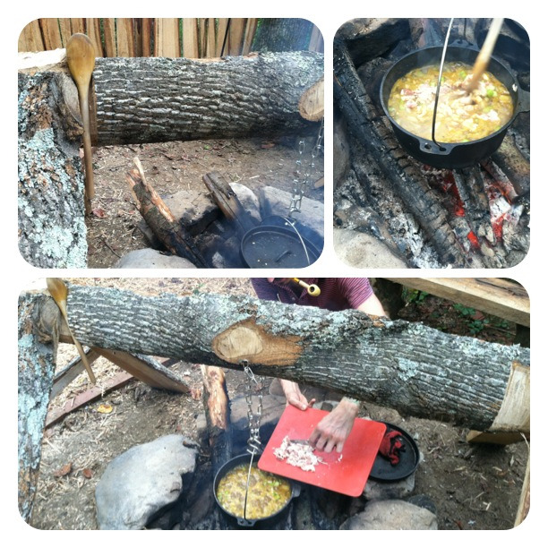 "Our first real meal using the dutch oven over the fire. It was a ""cowboy"" stew with whole grains, beans, veggies, and bacon."