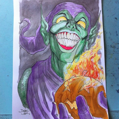 danielhdr:  Finished: #greengoblin #commission #spiderman #marvel #comics #marvelcomics (Taken with Instagram)  Green Goblin by Daniel HDR - a commission for me, collecting at NYCC! Roll on October!