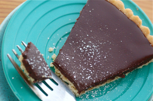 chocolate ganache tart with bacon fat shortbread crust click here for recipe