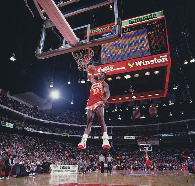 Dominique Wilkins unleashes a dunk during the 1988 NBA Slam Dunk Contest. (Walter Iooss Jr/SI) GALLERY: NBA Slam Dunk Contest Winners (1984-2012)