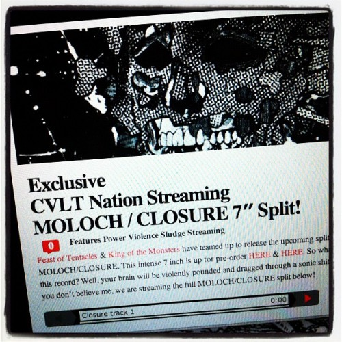 "Moloch / Closure split 7"" streaming over at Cvlt Nation http://www.cvltnation.com/exclusive-cvlt-nation-streaming-moloch-closure-7-split/ #moloch #closure #feastoftentacles #kingofthemonsters #cvltnation (Taken with Instagram)"