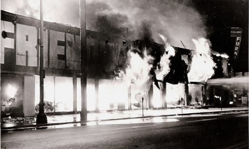 "August 11, 1965. The Watts Riots break out in Los Angeles, less than a week after the Voting Rights Act became law. LBJ is stunned. Here's LBJ aide Harry McPherson on the White House reaction:   ""Generally, one of despair that it had happened and that it would almost certainly jeopardize a lot that we were trying to do. It seemed to justify the worst feelings of the racists in Congress and in the press. It would obviously make it more difficult to pass any legislation if needed, and it worked a very severe and immediate strain on the coalition of liberals. The President, and all of us, were baffled by it for a long time. Our data was almost nonexistent. It took us several days to understand that Watts was not a conventional eastern city tenement area, but it was an area of small houses. It would take many months before information would come in about family breakdown, poverty, delinquency in Watts.""  Read the rest of McPherson's oral history here. Photos from Flickr Creative Commons, by Johnny Rorschach."
