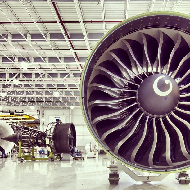 The GE90 (foreground) and GEnx #engines at #GE #Aviation in Peebles, OH. #technology #manufacturing #avgeek (Taken with Instagram)