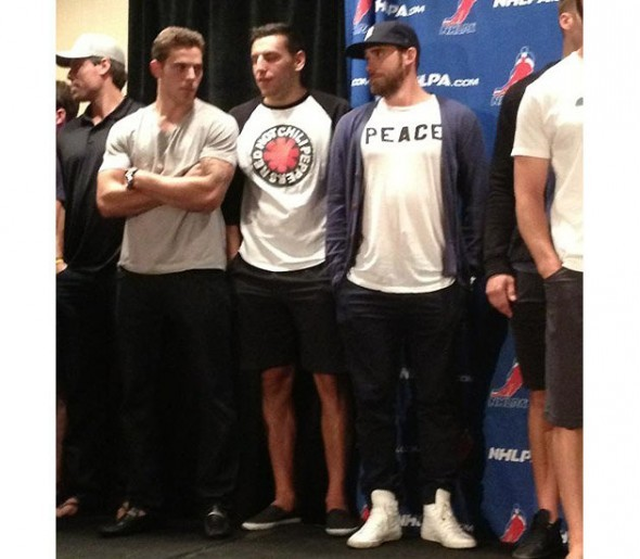 Tyler Seguin, Milan Lucic, & Henrik Zetterberg dressed up real nice for today's CBA meetings.