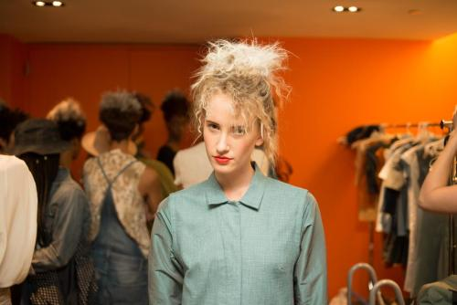 Backstage beauty at William Okpo S/S 2013 - Hair by Privé Salon and makeup by Aveda!