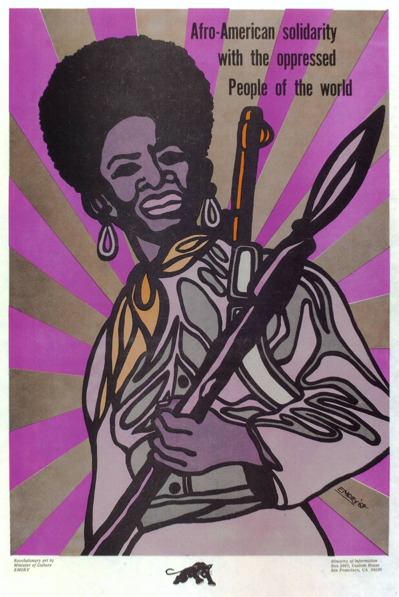 """Afro-American solidarity with the oppressed people of the world"" Poster by Minister of Culture for the Black Panther Party, Emory Douglas, 1969"