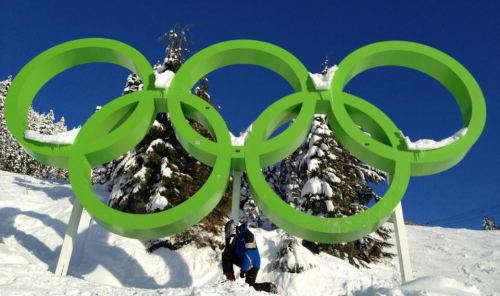 Tebowing under the Olympic Rings in Whistler Blackcomb