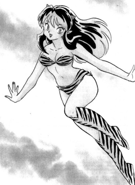 "Perhaps Lum is the most difficult character for me to understand… I felt very tense drawing Lum on this occaision. Drawing her face was especially difficult. I created her before I debuted. She was a character from a short story I considered doing at the time. When I first drew her, I took good care of her hairstyles and the shape of her skeleton.-laughs- Since then, a lot of people have loved her for a long time and I really appreciate it. I owe her my success. Had it not been for her, what would have become of me…-laughs- On the other hand Lum is the most difficult character for me to understand in ""Urusei,"" as I feel rather sympathetic towards characters that are twisted or complicated. So, characters that are free and straight like Lum are more difficult for me to understand. It was also Lum who taught me that even in your own manga, you can find some characters that are not like you. With the publication of the shinsoban, I hope those of you who are new to Lum also support her and me.  -Rumiko Takahashi"