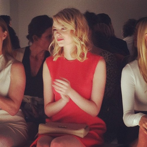 Another shot of Emma Stone front row at Calvin Klein Photographed by Gloria Baume