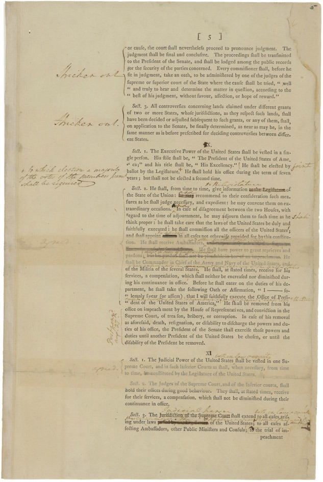 "This is page 5 of George Washington's copy of the draft of the Constitution. You can see his notes on the page, which describes the powers of the President. As Chairman of the Constitutional Convention, George Washington said little but took careful notes. This National Archives record will be on temporary display at the museum at Mount Vernon, along with his personal copy of ""Acts of Congress"" (just acquired by Mount Vernon) from September 17. Washington did have strong opinions on the debates and the delegates. Read today's Constitution 225 blog post to learn more: http://go.usa.gov/rAFA"