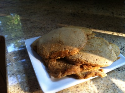 "izzyblogsfood:  Vegan Pumpkin Pancakes Oh man guys… this is it. New favorite pancakes yet.  Ingredients: 1 cup whole wheat flour (or flour of choice) 1 cup water 1/4 cup almond milk (or milk of choice) 1 tbsp baking powder dash of salt 1/4 cup pumpkin (canned or fresh) 1/4 tsp cinnamon  1/8 tsp nutmeg and allspice 1/2 tsp vanilla extract 1/4 tsp baking soda sugar to taste (I used a couple spoonfuls of Stevia, but brown sugar would taste really good with this recipe) Mix all together and cook. This made 12 small pancakes (about 4""), but this could easily be doubled or cut in half."