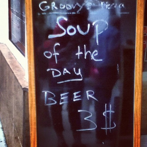 adventurecomics: Soup of the day: beer. (Taken with Instagram at Groovy's Pizza)
