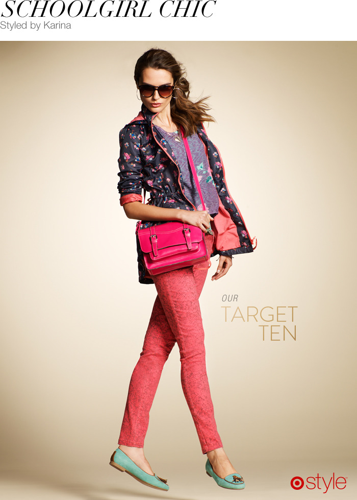 Schoolgirl Chic by Karina own it now: pink satchel. graphic pants. teal loafers. sunnies. floral rain jacket. (shop sweatshirt in store).