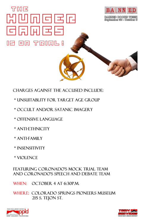Hunger Games on Trial! Watch this mock trial for Banned Books Week Oct. 4!