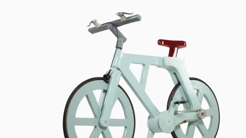 This $9 Cardboard Bike Can Support Riders Up To 485lbs  The Alfa weighs 20lbs, yet supports riders up to 24 times its weight. It's mostly cardboard and 100% recycled materials, yet uses a belt-driven pedal system that makes it maintenance free. And, maybe best of all, it's project designed to be manufactured at about $9 to $12 per unit (and just $5 for a kids version), making it not only one of the most sustainable bikes you could imagine, but amongst the cheapest, depending on the markup.  Read more->