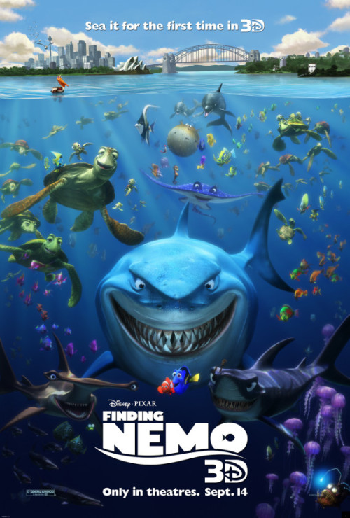 fuckyeahdisneysongs:  Finding Nemo 3D is now in theaters. I am so excited about seeing Finding Nemo on the big screen because I didn't see it the first time it came out. I don't know if I'll see it in 3D or 2D yet. The Lion King 3D was the greatest ever and I want to live in it, but Beauty and the Beast 3D wasn't that great.