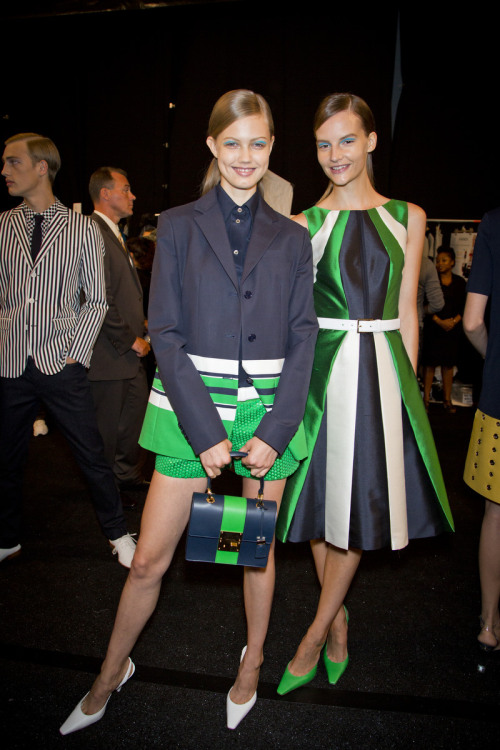 glamour:  What's green and navy and white all over? The Michael Kors spring 2013 show, 'natch! Photo: Mark Leibowitz