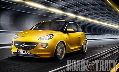GM's 2013 Opel Adam will be powered by 70-bhp 1.2-liter, 87-bhp 1.4-liter, and 100-bhp 1.4-liter and all come equipped with a 5-speed manual transmission target to compete with Mini Cooper and Fiat 500. (Source: Road & Track)