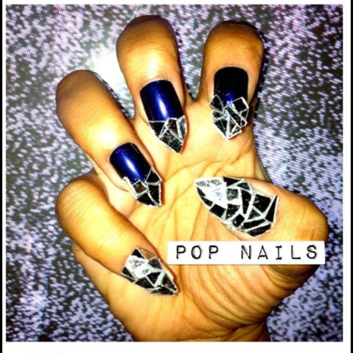 popnailspopmakeup:  Mirror mosaic Nails #throwbackthursday (Taken with Instagram)