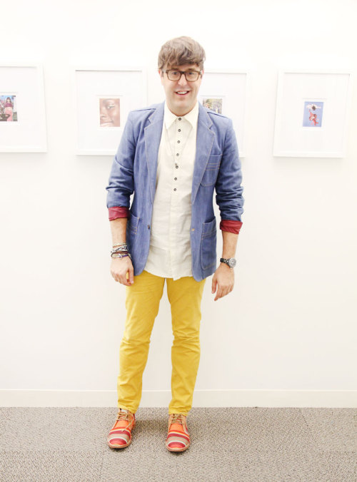 NYFW style: Andrew Bevan wears a rag & bone shirt, vintage blazer, Hawking McGill pants, Low Luv x Erin Wasson necklace, and Cole Haan X Les Toiles du Soleil shoes