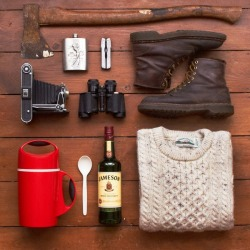 stayrustic:  whereisthecoool:  A few camping essentials.   These always seem to go well together  jameson goes with everything.