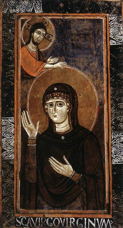 allaboutmary:  Maria Advocata A 12th century painting by an unknown Italian master of Mary interceding before Christ (Haghiosoritissa).
