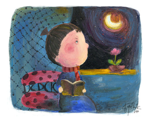 We sighed and looked at the moon / Suspiramos y miramos a la luna (ilustración de Shi Shi Nguyễn)