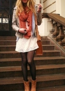 via this blog cute!! black tights, low boots, white lace dress, jean jacket (might add my leather oneeee) scarf, purse! this is happening.
