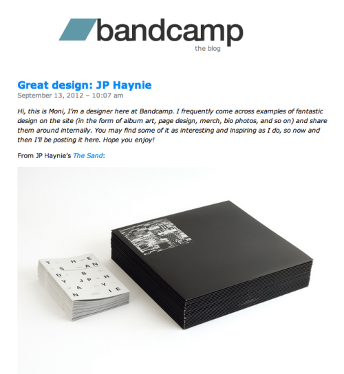My record was featured on Bandcamp blog today for design. See Here