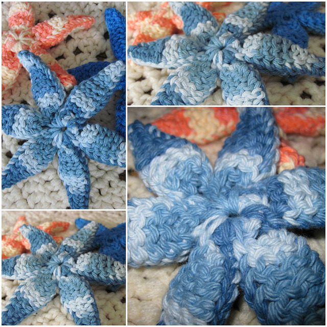 STaRFiSH bLUeS Crocheted Starfish handmade and found via wiLDaBoUtCoLoR's Flickr Photostream Nice work!