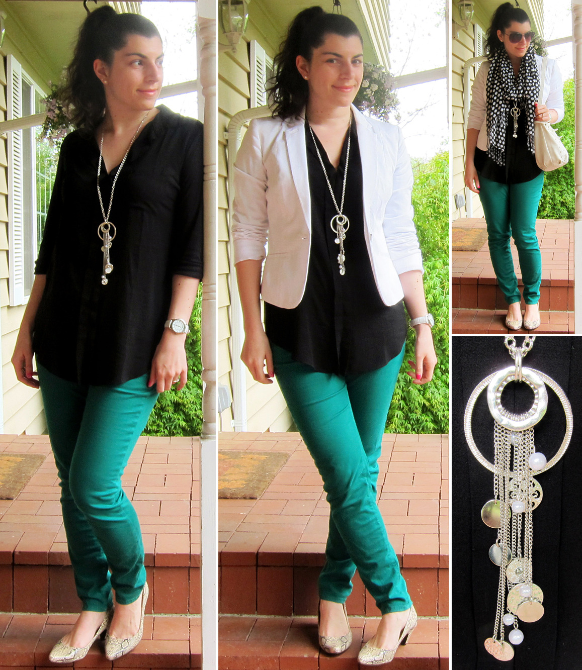 04.25.2012 [wed]Backlogged outfit, added 02.08.2013. Worn to: work, dinner @ Kindah's w/Michael Thoughts:Picked up this fun pendant a couple days ago from LOFT, and this is the color combo that made me want green jeans for this season. It all feels so very crisp! I know orange is the color of the season, but I am really feeling emerald.