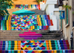 secondsminuteshours:  Street art on the steps of Beirut by Dihzahyners.