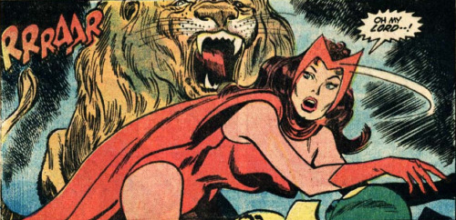 superdames:  WANDA DRAMA BOMB with lion. —Avengers #112 (1973) by Steve Englehart & Don Heck