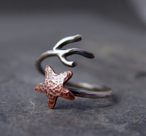 Copper Starfish Adjustable Ring (x)