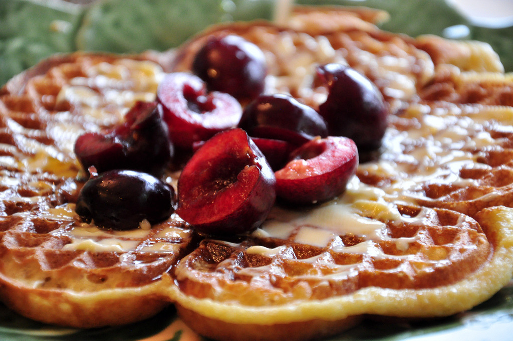 Raised Waffles with Cherries (by tofu666)