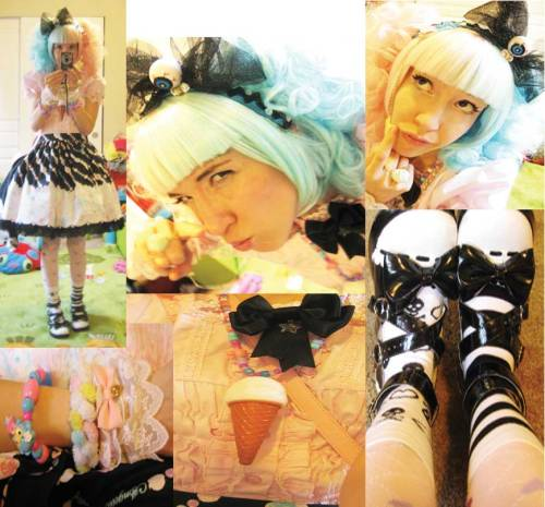 skirt- jewelery jelly ap  blouse- bodyline shoes-off brand bow- self made tights- off brand cute candy from -hunter~ socks - awesome present from dj dynamic