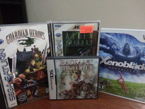 Recent acquisitions. I feel dirty for giving Gamestop money for Xenoblade.