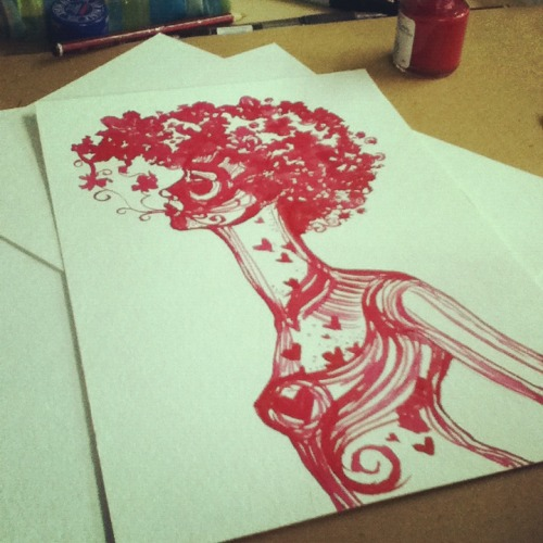 briannamccarthy:  Red ink therapy. She bled out of my hands. BM. 2012.