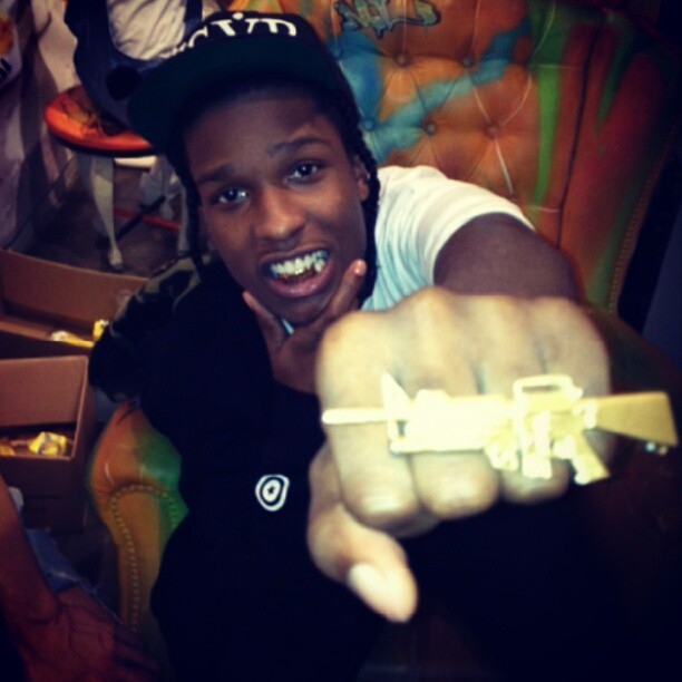 A$AP Rocky is hella pretty rockin Melody Ehsani x Jeremy Scott AK47 ring #melodyehsani #jeremyscott #asaprocky (Taken with Instagram)