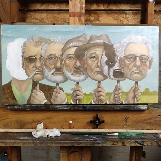Laying in color glazes. #billmurray #baddads #wesanderson #spokeart #art #painting #movie (Taken with Instagram)