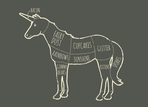 Unicorns = Happiness Artist Luis Diaz designed this helpful graphic, entitled Where Happiness Comes From, to explain what we've always felt. We suspect he might be a Secret Unicorn. By the way, this design is currently available as a t-shirt. [via Foodiggity]