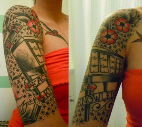 latenitelynx:  Incredible card catalog tattoo on the arm of a card-catalog-lovin' librarian  Very nice…