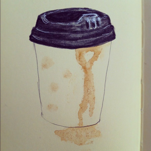 coffee cup. by jellibat Breaking in a new plain Moleskine sketchbook.