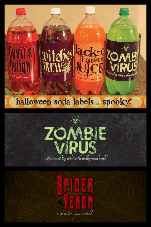 halloweencrafts:  DIY Halloween Five Soda Bottle Creepy Labels Download from CM2 here. *Just a suggestion: if you like a download, download it because it may disappear!  Truebluemeandyou: I'll be posting lots more great labels on Halloweencraft. You can see some of them here: halloweencrafts.tumblr.com/tagged/labels